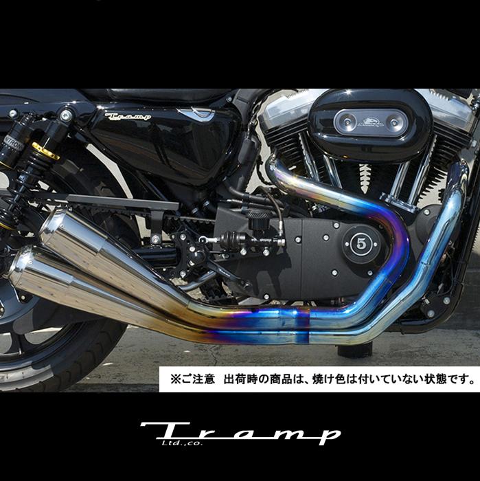 TRAMP CYCLE トランプサイクル マフラー スポーツスター 07~13年モデル用 /Fulltitanium Muffler 2in2 GlowEmit/ポリッシュタイプ tmf-058E-GlowEmit 送料無料