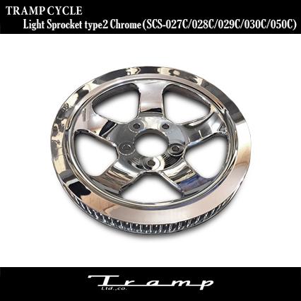 TRAMP CYCLE / トランプサイクル ライト スプロケット クローム XL1200CX用、または16年以降モデル スポーツスターで純正からUSプーリーがついているモデル /Light Sprocket Type2 Chrome SCS-050C 送料無料