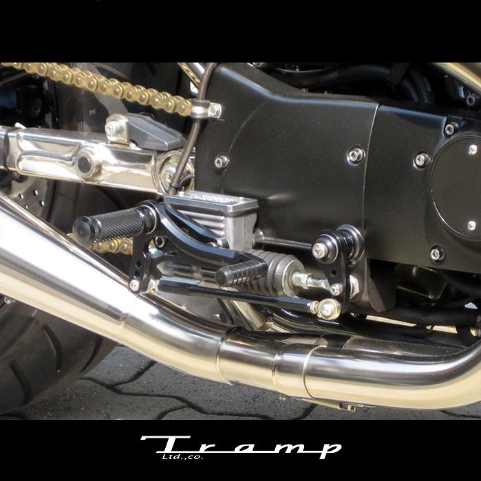 TRAMP CYCLE トランプサイクル バックステップキット 5stp ~03年 スポーツスター / ノーマルマフラーにも取付可 ブラックアルマイト TB-008B 送料無料