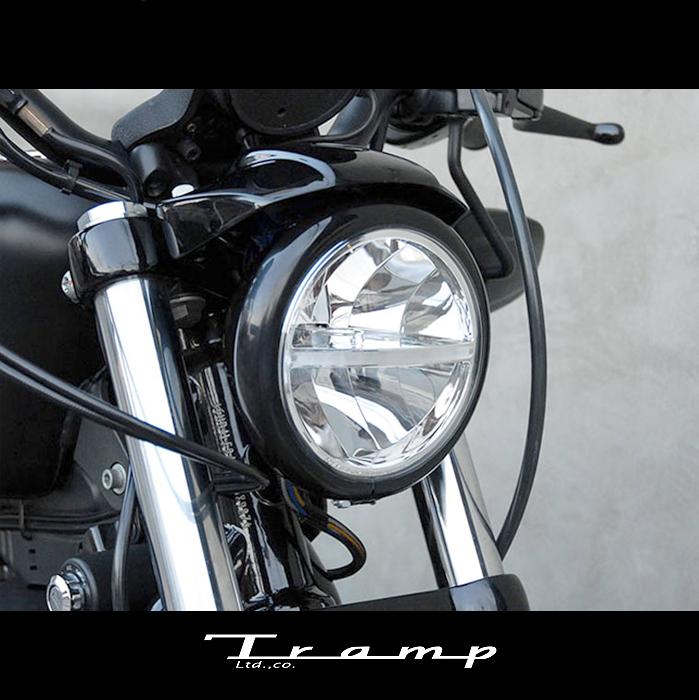 TRAMP CYCLE トランプサイクル LED トップマウント・ヘッドライト 04年以降XL(ナセル付きモデル)/ XR ハーレーダビッドソン 社外品HARLEY DAVIDSON TB-033B