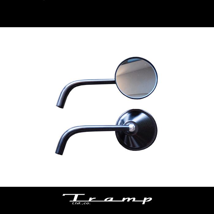 TRAMP CYCLE トランプサイクル / ラウンドタイプバックミラー 左右セット カラー:ブラック スポーツスター、ダイナ対応製品 ハーレーダビッドソン 社外品HARLEY DAVIDSON TOT-044B