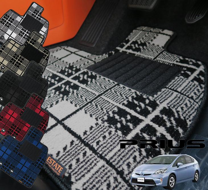 30系プリウス専用フロアマット タータンチェック マット フロア マット 専用 純正 パーツ 内装 カー用品