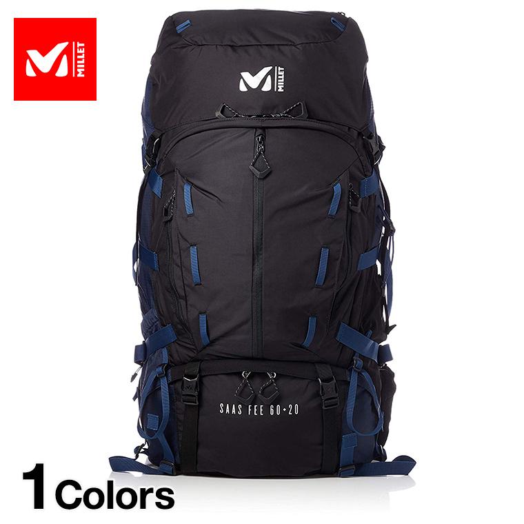 MILLET ミレー バックパック サース フェー ブラック/ネイビー メンズ SAAS FEE 60+20 60リットル MIS0637 ■アウトドア 大容量 ザック 登山
