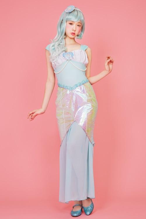 ◆【LLL Mermaid Princess】◆L.L.Lの世界に住むマーメイドのコスチュームが登場!色合いと生地感にこだわった一着!オーロラ生地が動くたびに光って、ゆらゆらと揺れる水面のよう!【ロリータ コスチューム/甘ロリ】