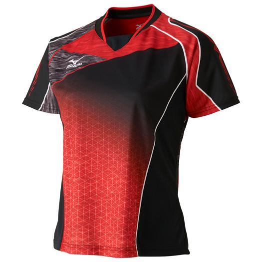◆MIZUNO◆ミズノ 62JA7211-96ゲームシャツ(ウィメンズ)[ブラック×チャイニーズ]トレーニングシャツ/ゲームシャツ/レディース/テニス/バトミントン/ウエア/ウェア