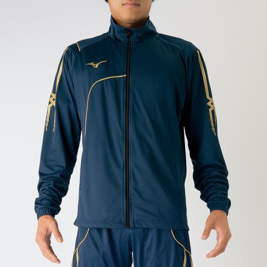 ◆MIZUNO◆ミズノ P2MC7080-14ウォームアップシャツ[ネイビー]【卓球用品】トレーニングシャツ/ジャージ/テニス/卓球/バトミントン/ウエア/ウェア