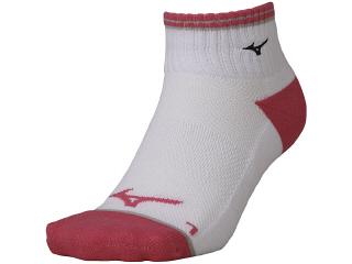 ◆MIZUNO◆ミズノ 62JX0001-76 ショートソックス [ホワイト×ピンク] 足の形状に合わせた立体設計の3DLR設計。卓球/ソックス/靴下/くつした【RCP】