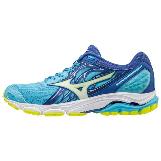 ◆MIZUNO◆ミズノJ1GD1844-01 WAVE INSPIRE 14 ウエーブインスパイア14[ブルー×ホワイト×イエロー]ファンシェイプドウエーブ採用の、サポートモデル。【陸上・ランニング】ウィメンズ/靴/ランニングシューズ/マラソン/トレーニング
