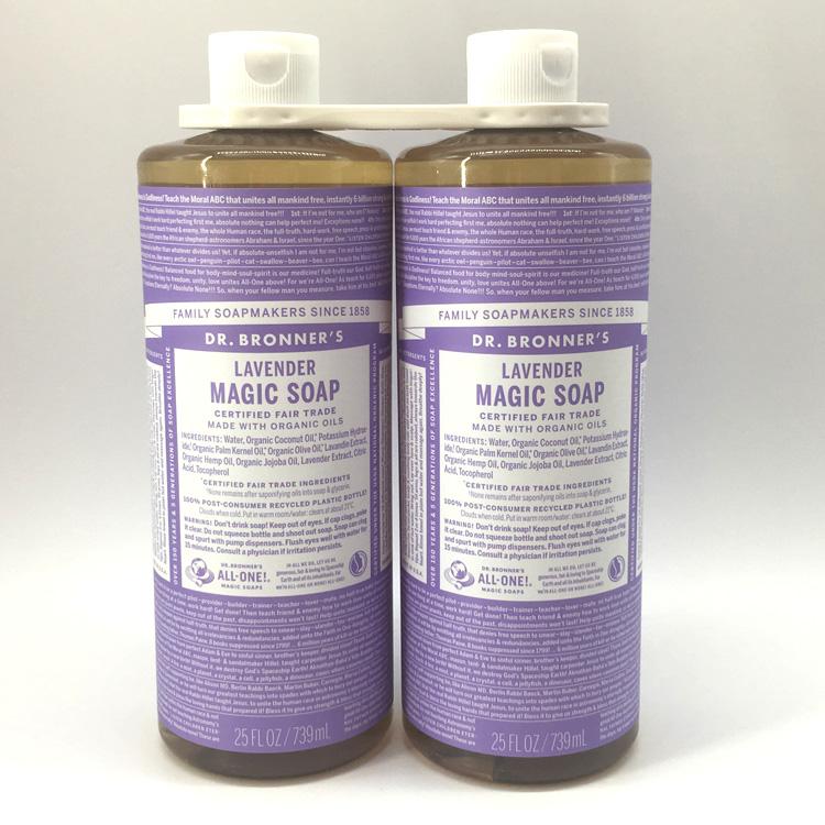 1本で顔もボディも洗えるオールインワンソープ ドクターブロナー マジックソープ LA ラベンダー 公式 2本セット 739mL 通販