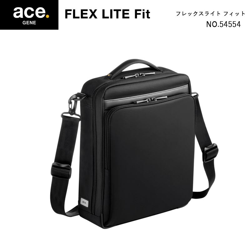 【送料無料】エースジーン(ace. GENE LABEL) FLEX LITE Fit フレックスライトフィット 54554 7L ショルダーバッグ ブラック(おしゃれ ace エース コンパクト メンズ デイバッグ かばん 軽量)
