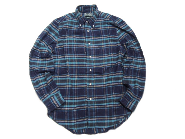 GITMAN VINTAGE(ギットマンヴィンテージ)/L/S REGULAR FIT B.D. SHAGGY CHECK SHIRTS/navy x turquoise