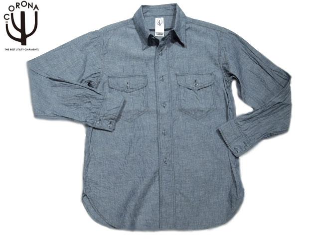 CORONA(コロナ)/#CS002-15-01 NAVY 2POCKET CHAMBRAY SHIRTS/blue