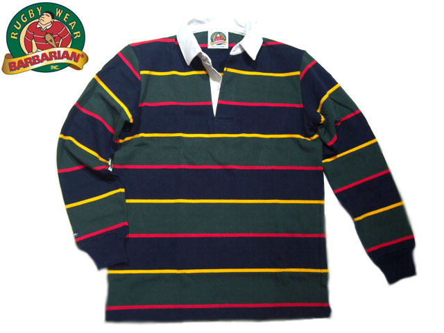 【期間限定30%OFF!】BARBARIAN(バーバリアン)/L/S RUGBY JERSEY/navy x gold x bottle green【アウトレット】
