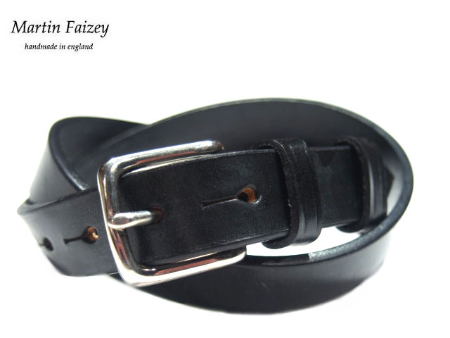 MARTIN FAIZEY(マーティンフェイジー)M.F.SADDLERY(エムエフサドリー)/1 INCH WEST END BUCKLE SADDLE LEATHER BELT/black(pewter)