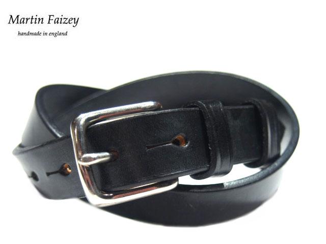 MARTIN FAIZEY(マーティンフェイジー)M.F.SADDLERY(エムエフサドリー)/1 INCH WEST END BUCKLE SADDLE LEATHER BELT/black(pewter)