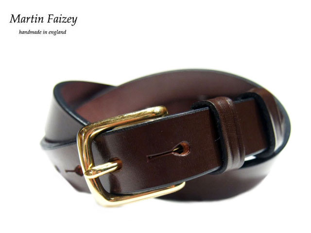 MARTIN FAIZEY(マーティンフェイジー)M.F.SADDLERY(エムエフサドリー)/1 INCH WEST END BUCKLE SADDLE LEATHER BELT/brown(brass)