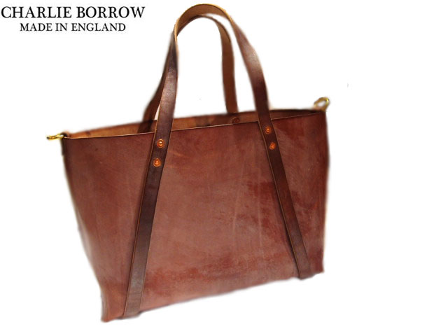 CHARLIE BORROW (チャーリー・ボロウ)/OAK BARK TANNED LEATHER x HAND STITCH WHOLE CUT TOTE/MADE IN ENGLAND/dark stain