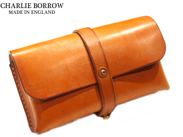 CHARLIE BORROW (チャーリー・ボロウ)/OAK BARK TANNED LEATHER x HAND STITCH TRAVEL POUCH/MADE IN ENGLAND/light stain(レザーポーチ)
