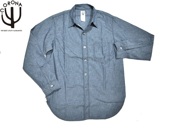 CORONA(コロナ)/#CS001-13-01 NAVY 1POCKET CHAMBRAY SHIRTS/blue