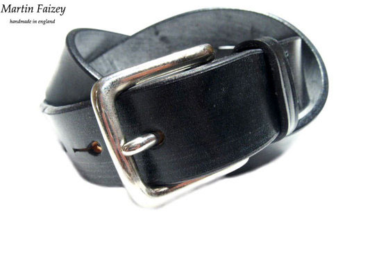 MARTIN FAIZEY(マーティンフェイジー)M.F.SADDLERY(エムエフサドリー)/1.25 INCH WEST END BUCKLE SADDLE LEATHER BELT/black(pewter)