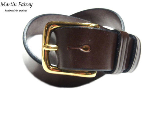 MARTIN FAIZEY(マーティンフェイジー)M.F.SADDLERY(エムエフサドリー)/1.25 INCH WEST END BUCKLE SADDLE LEATHER BELT/brown(brass)