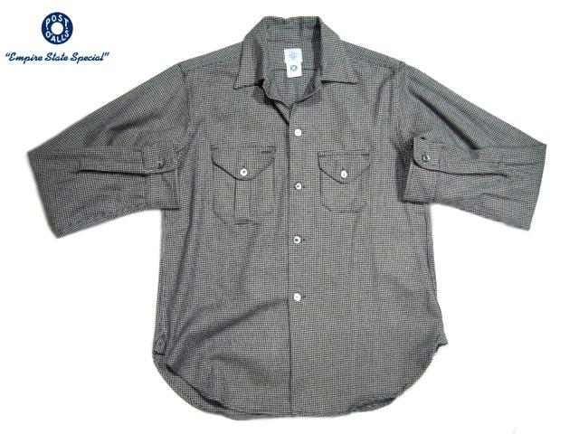 POST OVERALLS(ポストオーバーオールズ)/#2214 E-Z CRUZ HOUNDTOOTH FLANNEL SHIRT/black x grey