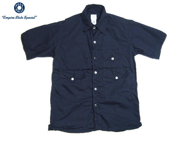 POST OVERALLS(ポストオーバーオールズ)/#1231 S/S TOWN & COUNTRY COTTON BROADCLOTH SHIRTS/navy