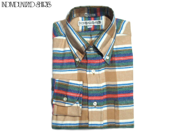 INDIVIDUALIZED SHIRTS(インディビジュアライズド シャツ)/L/S STANDARD FIT B.D. FLANNEL CHECK SHIRTS/tan