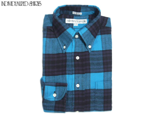 INDIVIDUALIZED SHIRTS(インディビジュアライズド シャツ)/L/S STANDARD FIT B.D. FLANNEL CHECK SHIRTS/turquoise x purple
