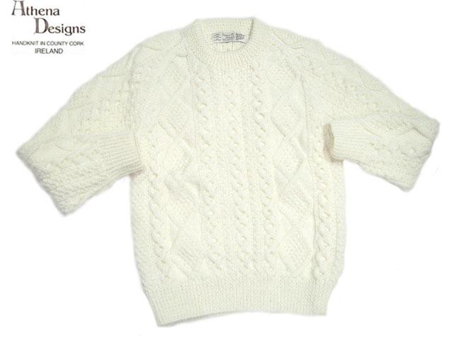 ATHENA DESIGNS(アテナデザインズ)/2S CREWNECK HANDKNIT ARAN SWEATER(クルーネック・ハンドニット・アランセーター)/white/made in Ireland