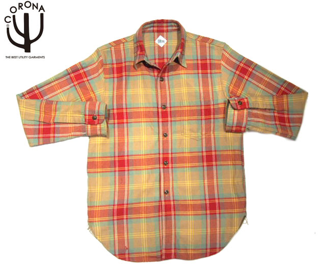 【期間限定30%OFF!】CORONA(コロナ)/#CS001-19-01 NAVY 1POCKET FLANNEL SHIRTS/khaki x red x mustard