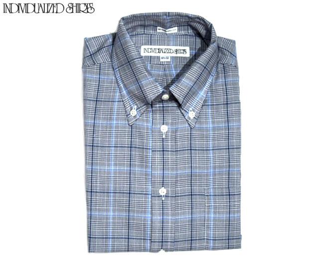 【期間限定30%OFF!】INDIVIDUALIZED SHIRTS(インディビジュアライズド シャツ)/L/S STANDARD FIT B.D. GLEN CHECK SHIRTS(グレンチェックボタンダウンシャツ)/grey x blue