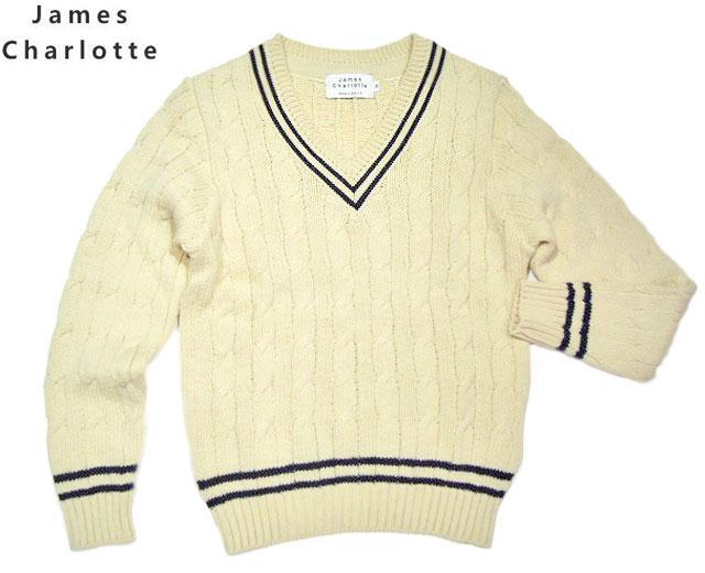 【期間限定20%OFF!】JAMES CHARLOTTE(ジェームスシャルロッテ)/#3306 CRICKET SWEATER(クリケットセーター・チルデンセーター)/blanco x azul x blanco