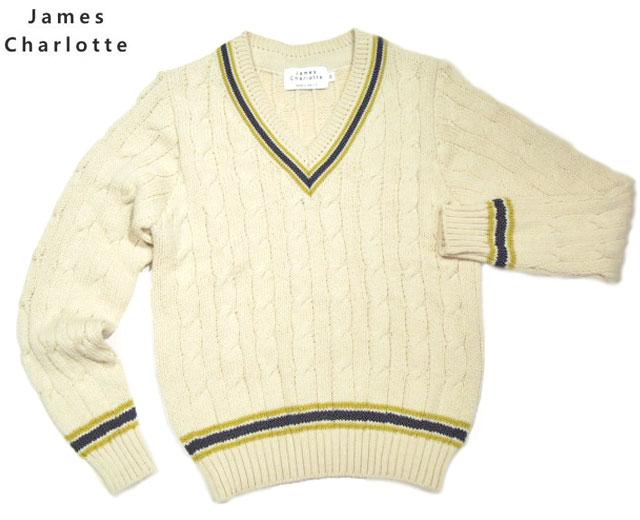 【期間限定20%OFF!】JAMES CHARLOTTE(ジェームスシャルロッテ)/#3306 CRICKET SWEATER(クリケットセーター・チルデンセーター)/blanco x citron x azul