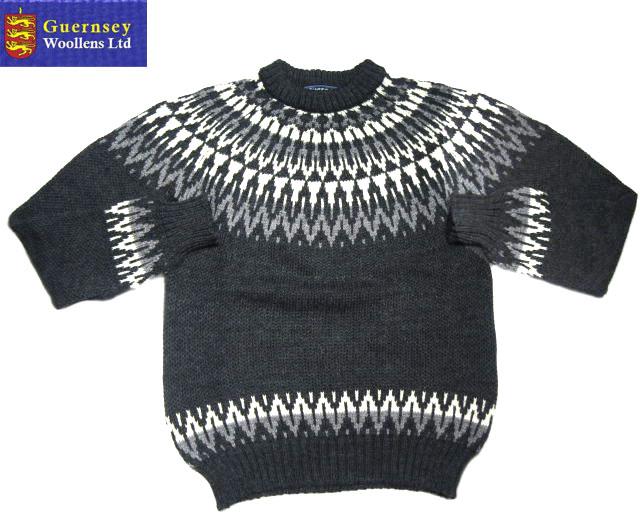 【期間限定20%OFF!】GUERNSEY WOOLLENS(ガンジーウーレンズ)/NORDIC PATTERN CREW NECK SWEATER(ノルディックセーター)/charcoal
