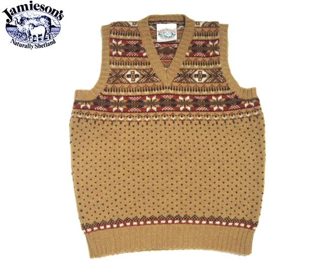 JAMIESONS(ジャミーソンズ)/#MK176V ALLOVER FAIRISLE V-NECK SLIPOVER/medium brown mix
