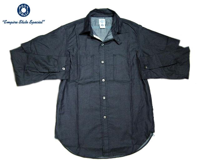 POST OVERALLS(ポストオーバーオールズ)/#3201B 1102 SHRT-R + HALF COTTON JACQUARD SHIRTS(コットンジャガードシャツ)/indigo