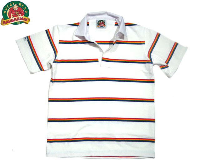 BARBARIAN(バーバリアン)/RAINBOW STRIPE S/S RUGBY JERSEY/white