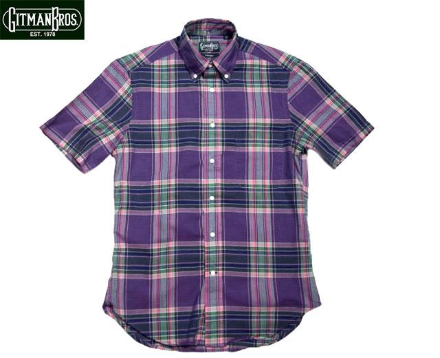 メーカー在庫限り品 送料無料 あす楽対応 期間限定30%OFF GITMAN VINTAGE ギットマンヴィンテージ SHIRTS 爆買いセール MADRAS ボタンダウン半袖シャツ B.D. purple S