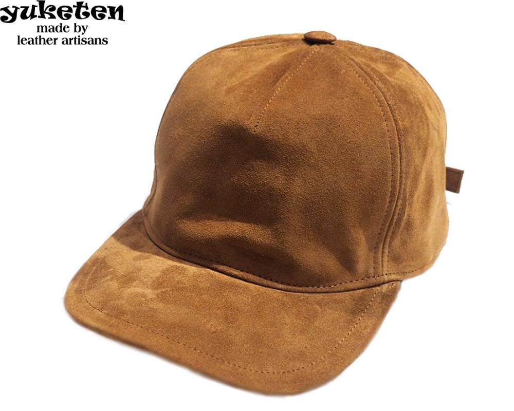 送料無料 あす楽対応 YUKETEN ユケテン ITALY golden CAP スウェードキャップ brown 売却 40%OFFの激安セール SUEDE
