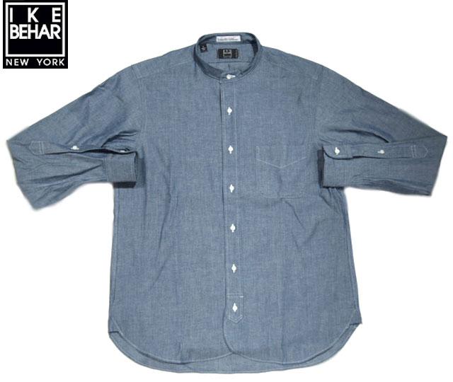 IKE BEHAR(アイクベーハー)/#MF1302L-SCN L/S STAND COLLAR CHAMBRAY SHIRTS(スタンドカラー・シャンブレーシャツ)/blue