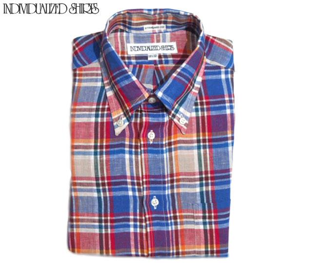【期間限定30%OFF!】INDIVIDUALIZED SHIRTS(インディビジュアライズド シャツ)/L/S STANDARD FIT B.D. MULTI CHECK SHIRTS(ボタンダウンシャツ)/blue x red