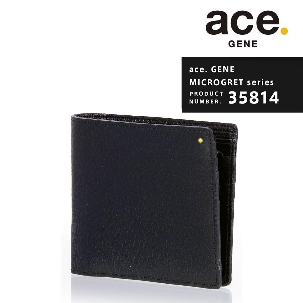 【割引クーポン配布中】【無料ラッピング】ace.GENE エースジーン MICROGRET ミクログレット 二つ折り財布 サイフ 財布 ウォレット レザー 革 メンズ レディース ユニセックス メーカー発送 「AE-35814」