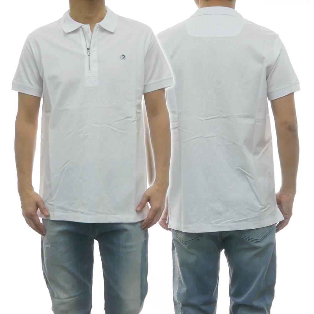 DIESEL ディーゼル メンズハーフジップポロシャツ T-HERT / 00SJ6N 0CATI ホワイト /2020春夏新作
