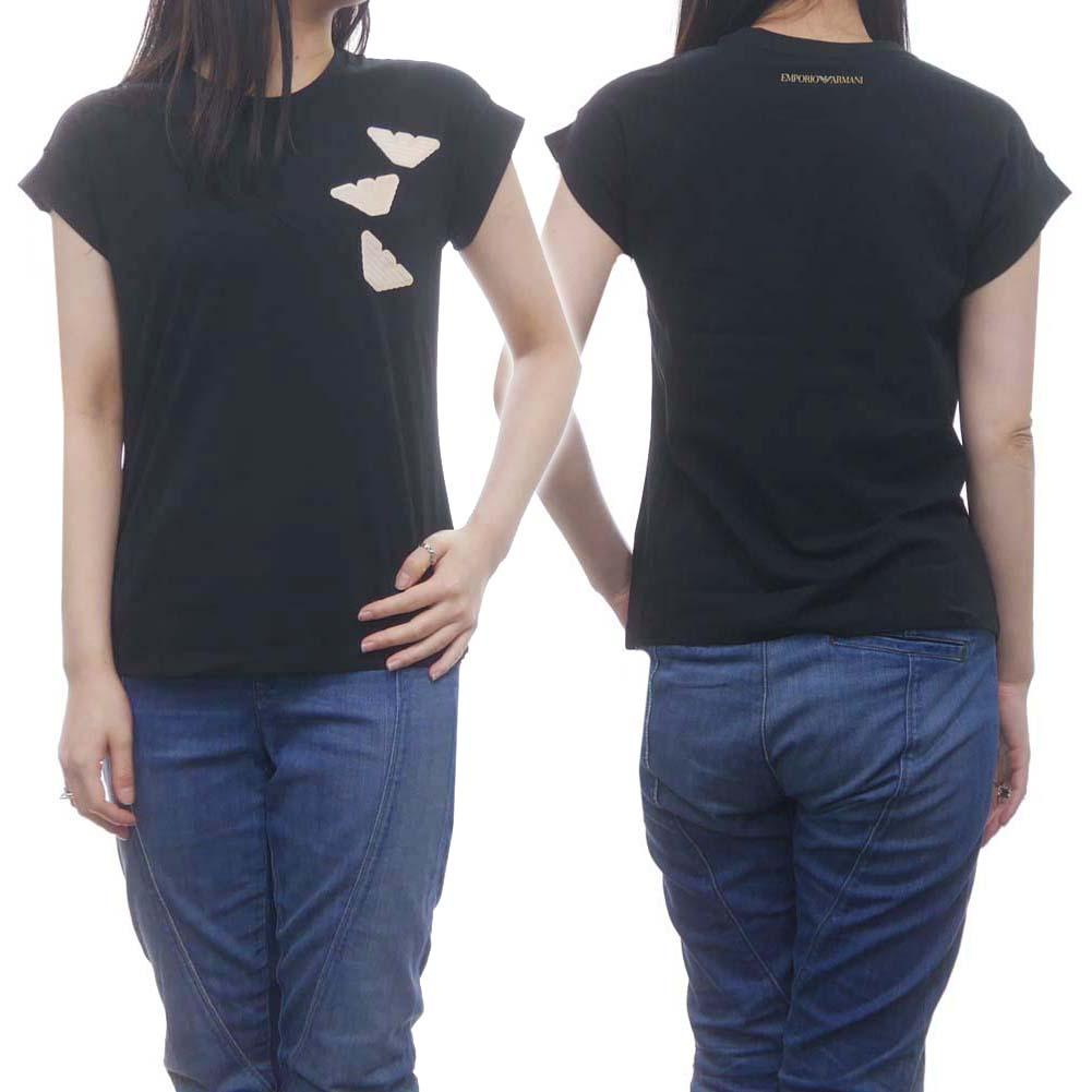 EMPORIO ARMANI エンポリオアルマーニ レディースクルーネックTシャツ 3H2T7D 2J07Z ブラック /2020春夏新作
