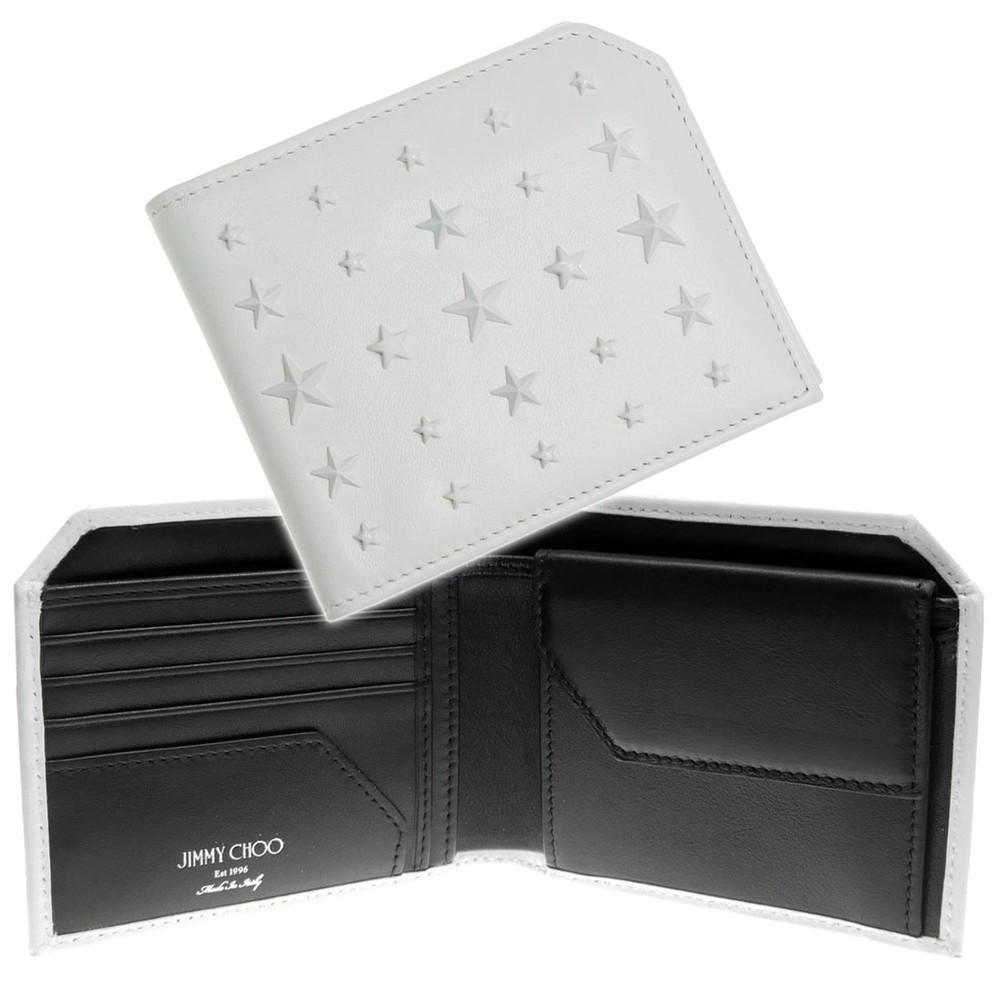 (ジミーチュウ)JIMMY CHOO メンズ二つ折財布(小銭入れ付き)ALBANY(アルバニー)/ ALBANY uig ホワイト