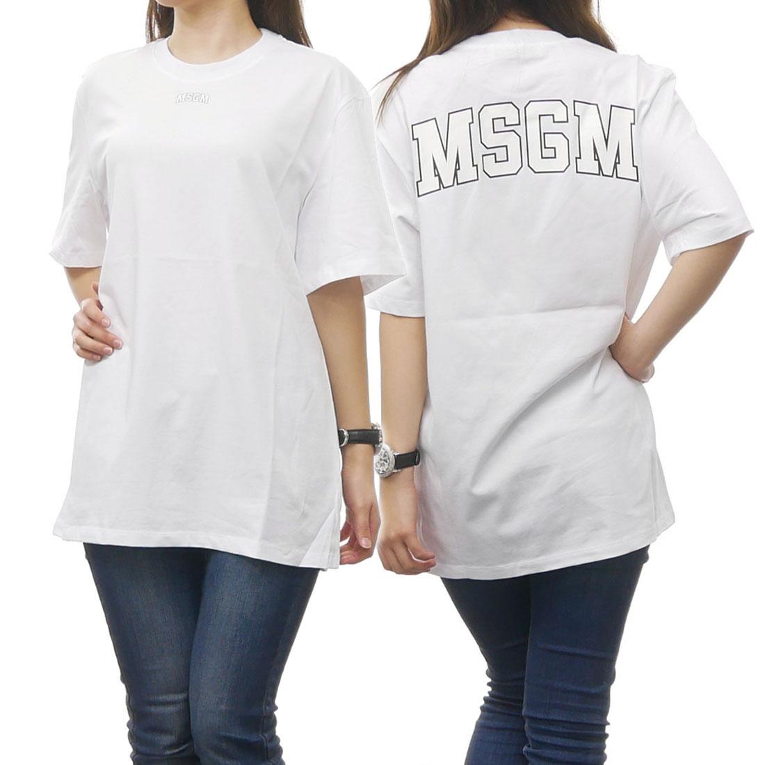 MSGM エムエスジーエム レディースクルーネックTシャツ 2441MDM160 184299 ホワイト【あす楽対応】