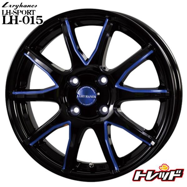 送料無料 155/55R14 GOODYEAR グッドイヤー LS2000ハイブリッド2 ラグジーヘインズ LH015 ブラックブルーマシニング 新品サマータイヤ ホイール4本セット 14インチ 4.5J 4H100 +45