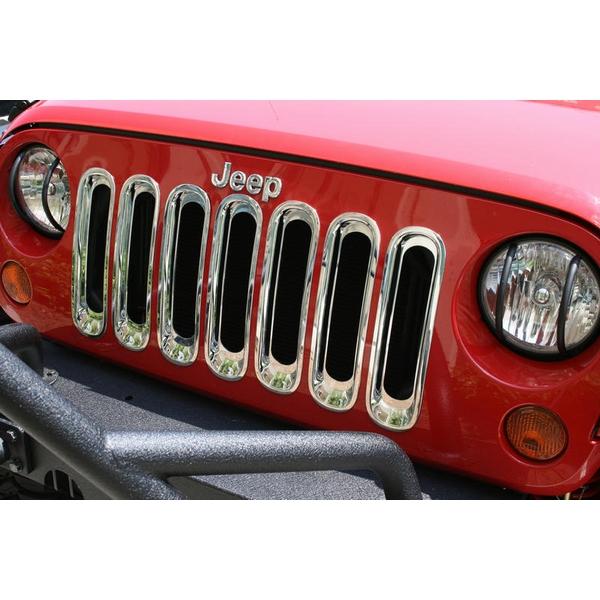 ジープ ラングラー Jeep Wrangler ジープJKラングラー/ジープJKラングラー アンリミテッド 【送料無料】 ラギッドリッジ フロントグリルインサート フロントグリルトリム クローム ラングラー カスタム パーツ