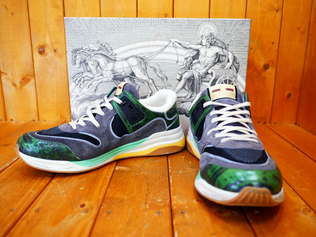 【中古品】 GUCCI Men's Ultrapace sneaker グッチ ウルトラペース メンズ スニーカー グリーン リザード 592345 1LH10 3175
